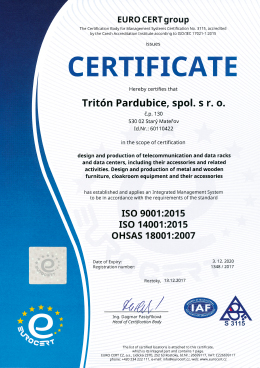 ISO 9001:2015, ISO 14001:2015, BS OHSAS 18001:2007