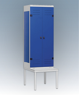 2-door clothes lockers with a seat
