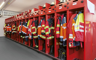 Fire lockers and lockers for rescue services
